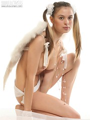 CSexy angel getting captured completely naked forgetting about white wings on her back